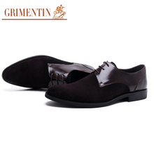 GRIMENTIN fashion classic mens shoes casual genuine leather black business suede shoes men basic flats for male wedding office