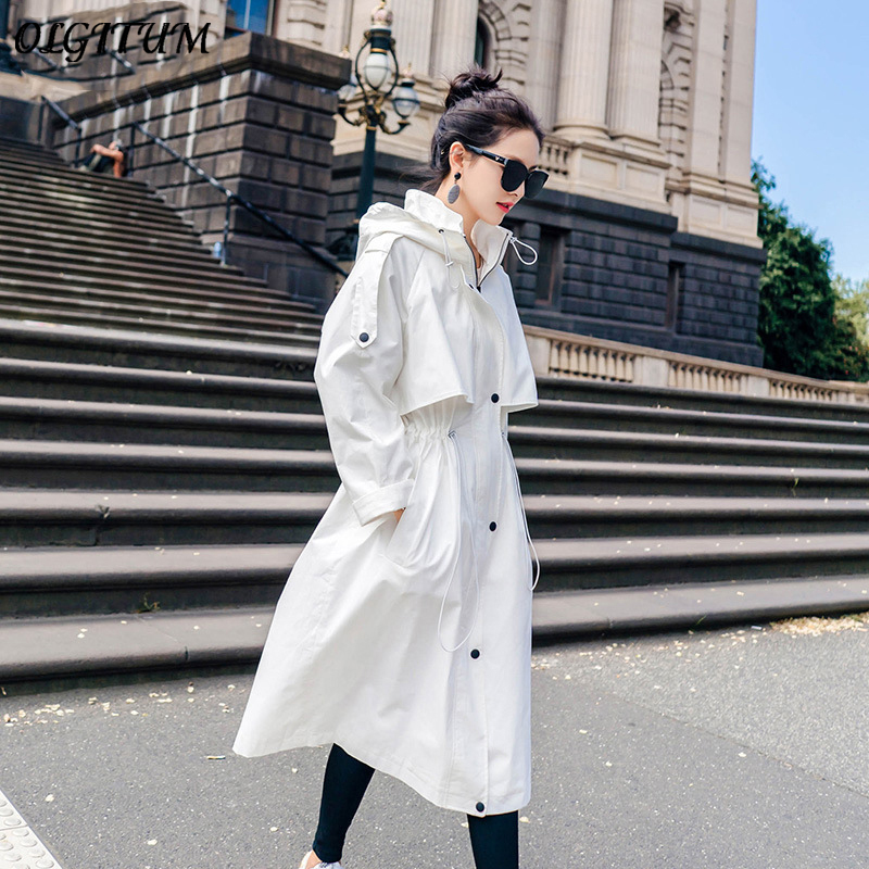 Chic wind White Long   Trench   Coat 2019 High Quality Women Korean Coat Fall Winter Brand Loose Windbreaker Casual Wild   Trench   Coat