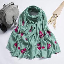 90*180Ethnic Style Embroidered Cotton Scarves and Shawls for Women Oversized Floral Viscose Hijab Pashmina Ladies Bandana Wraps