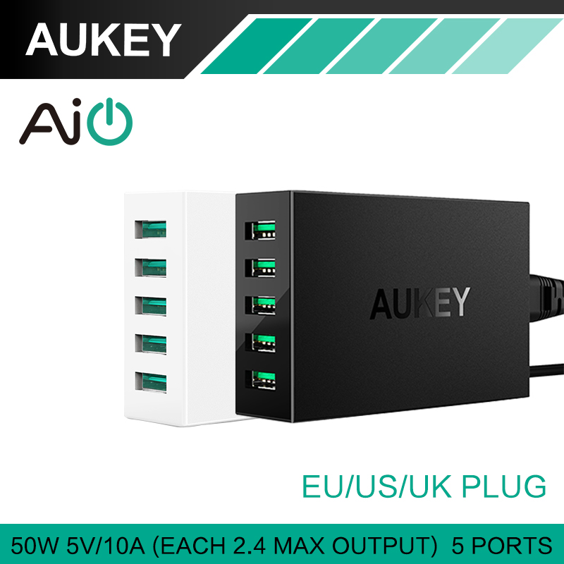 font b Aukey b font 50W 10A 5 Ports USB Desktop Charger with AlPower Tech