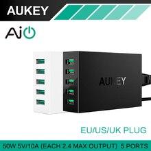 Aukey 50 W / 10A 5 Ports USB cargador de escritorio con AlPower tecnología para el iPhone iPads iPod Samsung Xiaomi y otros Android dispositivos móviles
