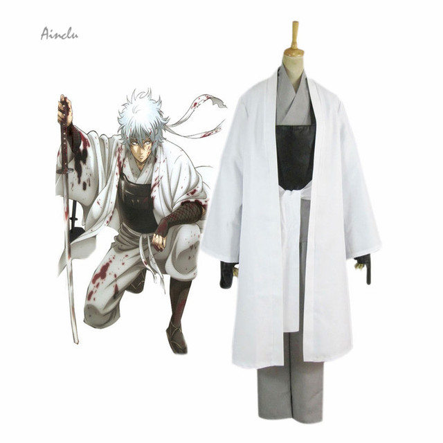 Ainclu new costume gintama sakata gintoki simple cosplay costume for kids and adult costume men for