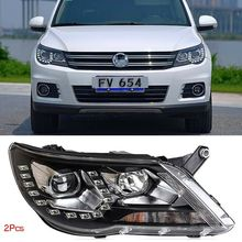 Dynamic Turn Signal LED Headlight DRLs Bi Xenon Projector Lens Fit For VolksWagen Tiguan 2010-2012 цена 2017