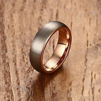 36b9770ae5ed Hombre anillo de carburo de tungsteno para hombres en oro rosa-color 6mm boda  banda de cepillado acabado mate hombre joyería