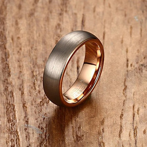 Mens Tungsten Carbide Ring for Men Rose Gold-color 6mm Wedding Engagement band Brushed Matte Finish Male Jewelry