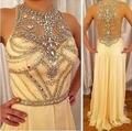 Ivory Chiffon Halter Sleeveless Formal Dresses Long Crystals Beaded 2016 Women Evening Dresses High Neck Vestido De Festa Z60506