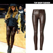 Fake Leather Wet Look Gothic Shiny Wet Look Beautiful PU Leggings Women Large Size Summer Brown Pants shiny leggings TOP230