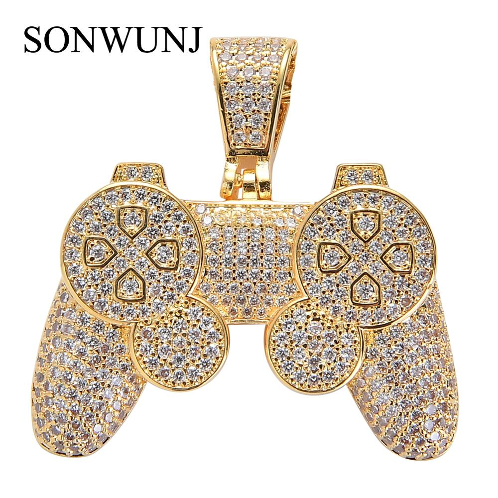 Hip Hop games console Pendant Iced Out Cubic Zircon Necklace Bling bling gift Jewelry CN064