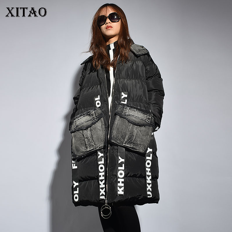 [XITAO] Korea Fashion New Arrival Women 2018 Autumn Patchwork Full Sleeve Print Letter Pocket Loose Long Thick   Parka   LYH1474