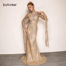 06017f5332082d Joyfunear Vrouwen Vintage Lange Party Dress 2018 Zomer Herfst Nieuwe  Elegante Bloemen Gouden Pailletten Jurk Vrouwen