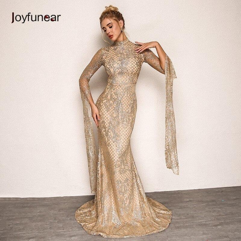6b97dc1c98 De Joyfunear Vestido Verano Otoño Vintage Oro 2018 Lentejuelas Elegante  Mujeres Vestidos Bodycon Nuevo Largo plata Floral Oro Fiesta verde wqHFIq