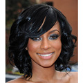 "12"" Women's Short Curly Wigs For Black Women African American Short Bob Wigs Cheap Synthetic Black Wig Perruque Synthetic Women"