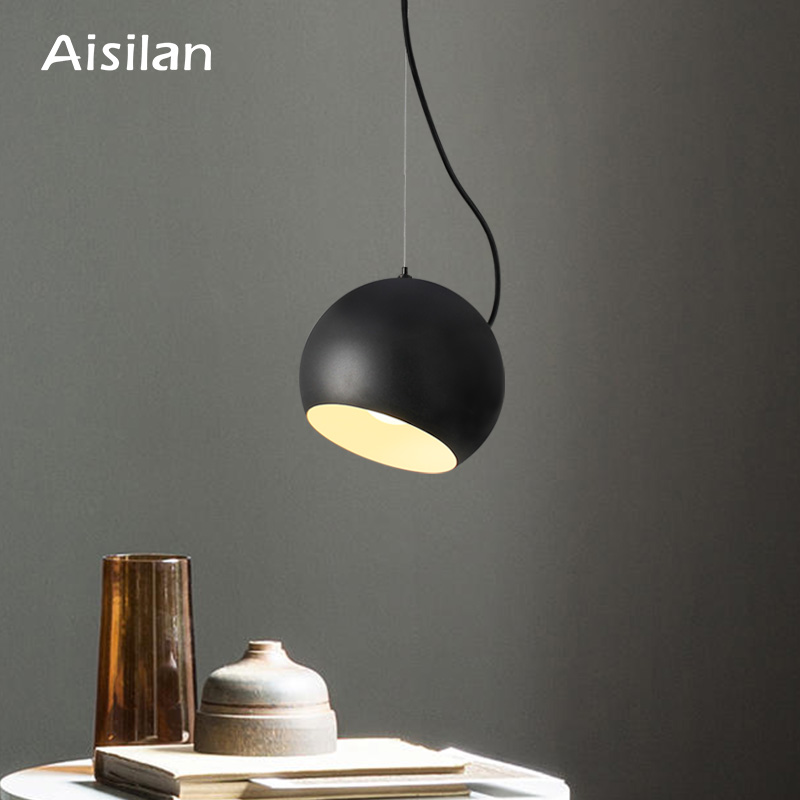 Aisilan Pendant Lights Dining Room Pendant Lamps Nordic Restaurant Coffee Bedroom Lighting Iron+Solid Wood E27 Holder