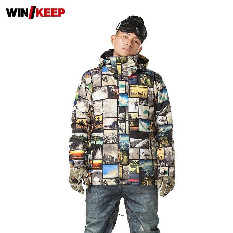 2019 nouveau hommes couleurs imprimé Snowboard veste à capuche chaud coupe-vent Ski manteau homme extérieur Ski Snowboard veste de sport