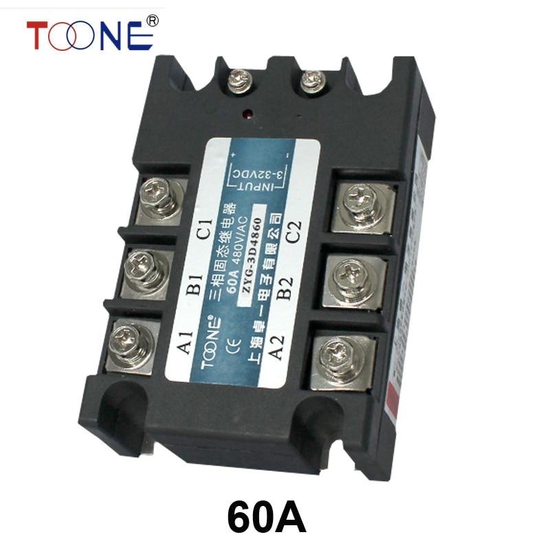 60A AC control AC SSR three phase Solid state relay temprature control single phase solid state relay ssr 60a 90 280v ac 24 480v ac