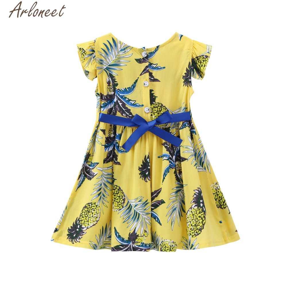 ARLONEET для маленьких детей Одежда для маленьких девочек принт фрукт, ананас, платье для девочек Детские платья для девочек от 4 до 5 лет, костюм принцессы