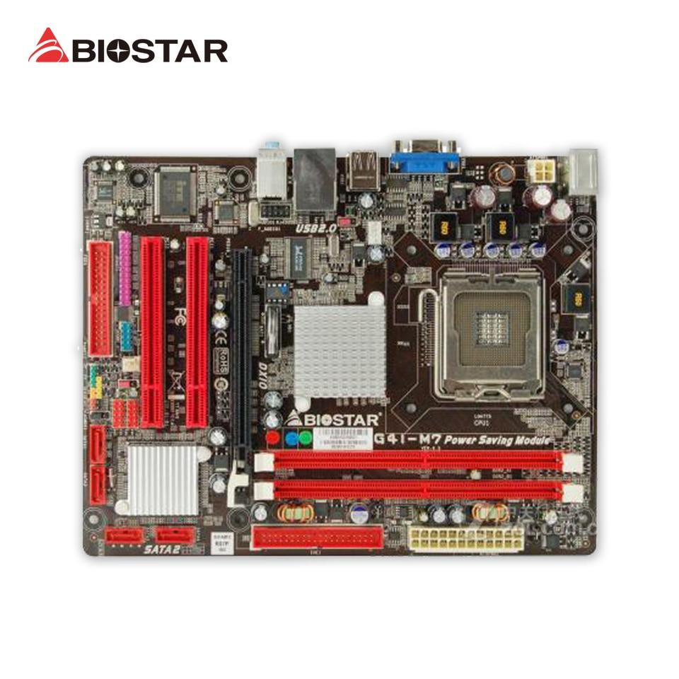 BIOSTAR G41-M7 Original Used Desktop Motherboard Intel G41 LGA 775 DDR2 8G SATA2 USB2.0 Micro ATX intel g31 micro atx lga 775 ddr2 computer motherboard blue silver