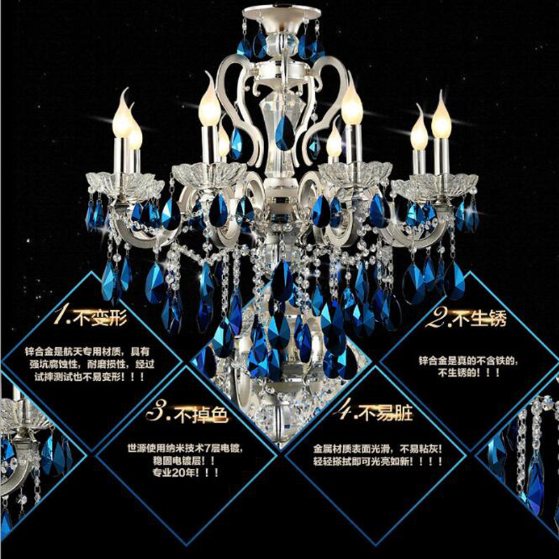 European alloy living room candle light silver crystal chandeliers 6 heads 8 heads 15 blue high-end bedroom dining room lights modern crystal chandelier hanging lighting birdcage chandeliers light for living room bedroom dining room restaurant decoration