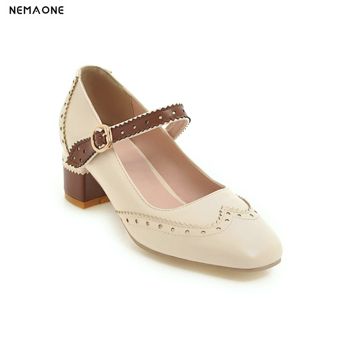 NEMAONE New thick high heels pumps rouned toe mary janes casual shoes women ladies shoes large size 34-43 sorbern mary janes round toe platform 4 high heels women pumps square chunky heeled ladies shoes size 42 gothic shoes large