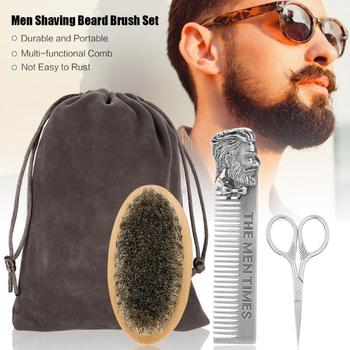 Men Beard Oil Kit Stainless Steel Beard Brush Comb Shaving Set Grooming & Trimming Kit Male Beard Care Set with Cloth Bag