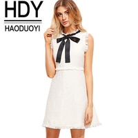 HDY Haoduoyi 2017 Sleeveless Front Bow Tie Mini Dress Casual Sexy Tassel Female Dress Vestidos Summer