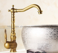 Bathroom Faucet Antique Brass Single Handle Hot & Cold Water Mixer Taps Wash Basin Bathroom Deck Mounted Faucet Nnf014 все цены