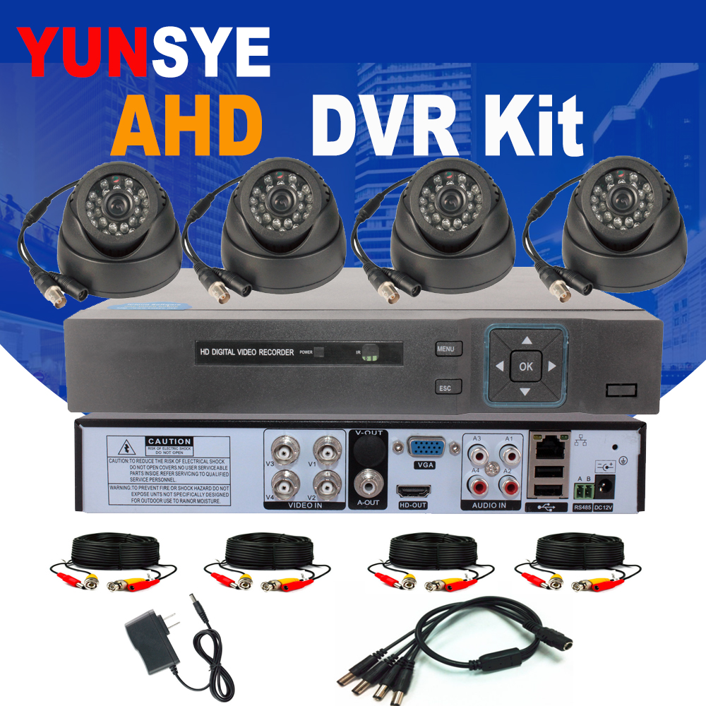 4CH AHD DVR Kit CCTV Security Camera System Full 1080P/720P 4CH DVR P2P 4pcs Camera Infrared AHD IR Dome Camera Kit YUNSYE4CH AHD DVR Kit CCTV Security Camera System Full 1080P/720P 4CH DVR P2P 4pcs Camera Infrared AHD IR Dome Camera Kit YUNSYE