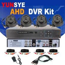 4CH AHD DVR Kit CCTV Security Camera System Full 1080P/720P 4CH DVR P2P 4pcs Camera Infrared AHD IR Dome Camera Kit YUNSYE