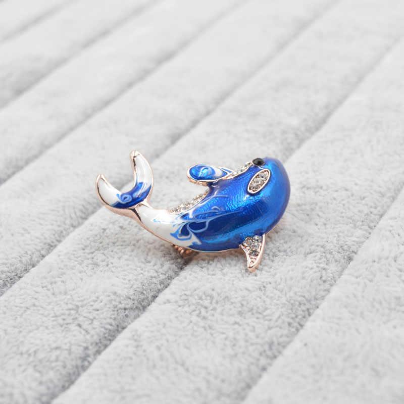 Cinkile Baru Kedatangan Enamel Cute Blue Dolphin Bros untuk Wanita Rhinestone Inlay Mantel Musim Dingin Topi Bros Pin Fashion Perhiasan