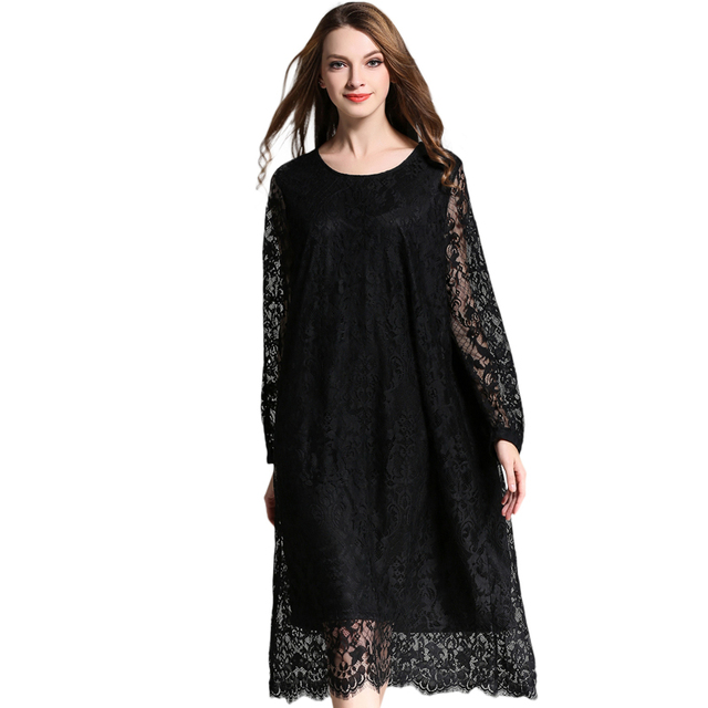 Autumn new Plus size Lace dresses Long sleeve hollow lace Elegant dress O Neck high waist women's clothing Oversized Black red