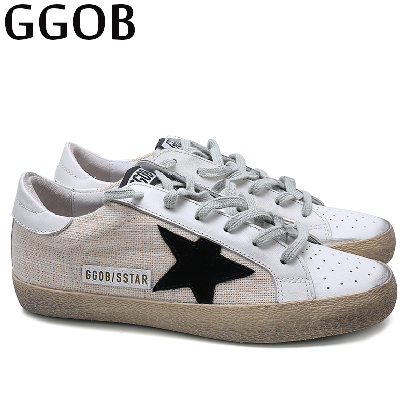GGOB Brand Autumn Flats Shoes Women Casual Genuine Leather Korean Shoes Woman Designer White Shoes 2018 Women Sneakers Unisex asumer white spring autumn women shoes round toe ladies genuine leather flats shoes casual sneakers single shoes