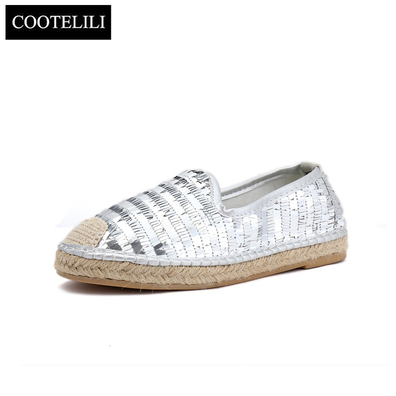 COOTELILI Autumn Women Flats Shoes Woman Casual Loafers Slip-On Round Toe Bling Oxfords Black Silver 35-39 cootelili women flats genuine leather shoes woman casual loafers slip on round toe ladies oxfords white plus size 40 41 42 43