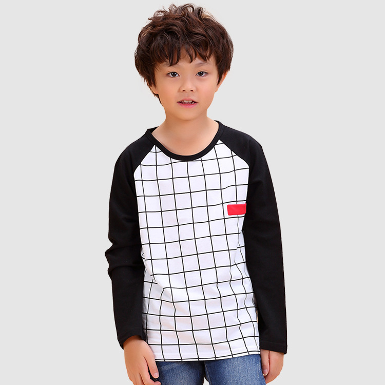 Plaid Children T font b Shirt b font 2016 Fashion White Cotton Boy Tees Long Sleeve