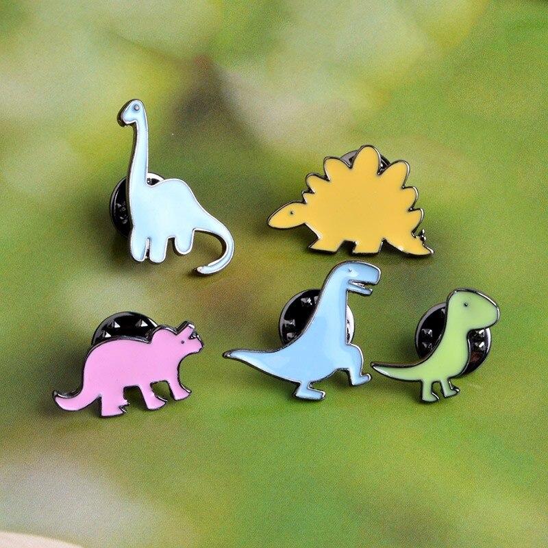 5 Pcs /set Fashion Cartoon Dinosaur Enamel Brooch Mini Cute Animal Brooches Pins Clothes Hat Decoration Jewelry For Men Women