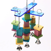 Wood bird toys Handcraft Non-toxic eco-friendly moveable Parrot bird toys swing wood chew rope toys fun with bells