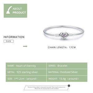 Image 2 - WOSTU Heart Infinity Love Bracelets 100% 925 Sterling Silver Pink Zircon Charm Bracelets Bangle For Women Fashion Jewelry CQB142