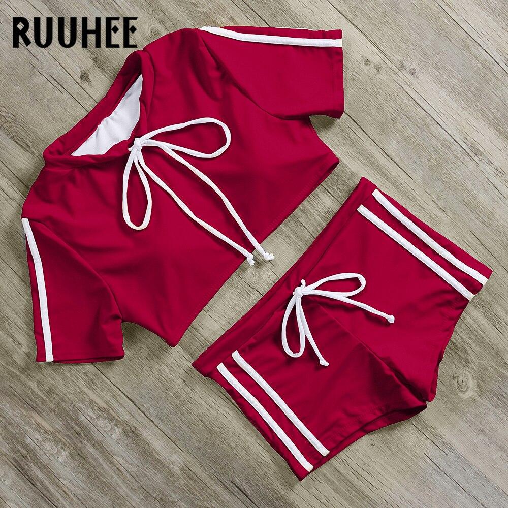 RUUHEE Swimwear Women High-Waist Beachwear Sleeve Push-Up Sport O-Neck