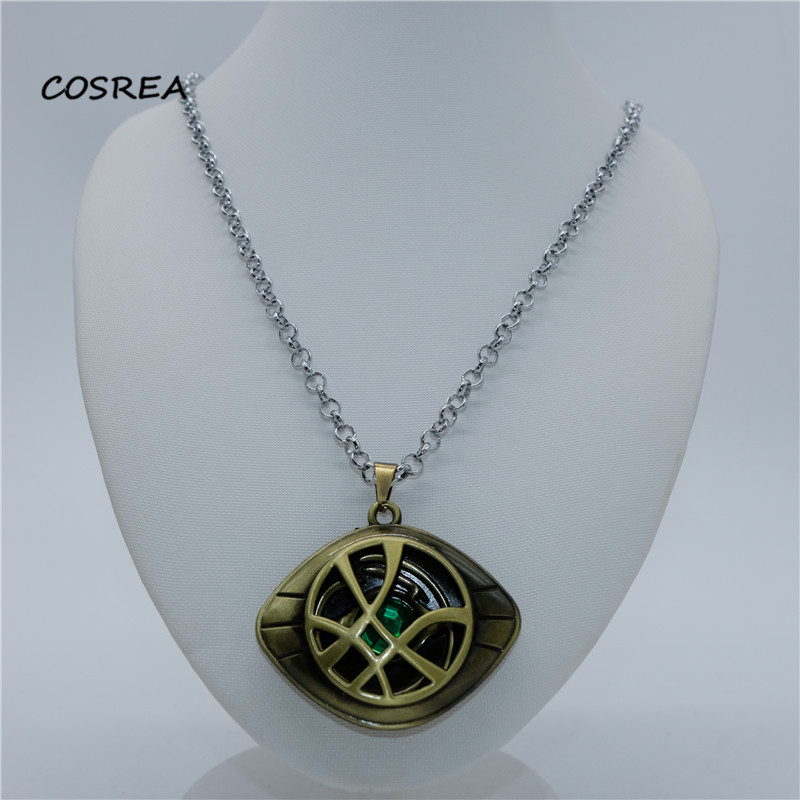 Marvel Avengers Doctor Strange Eye of Agamotto Time Stone Pendant Action Figure Collection Figurine Toy model Costume Necklace