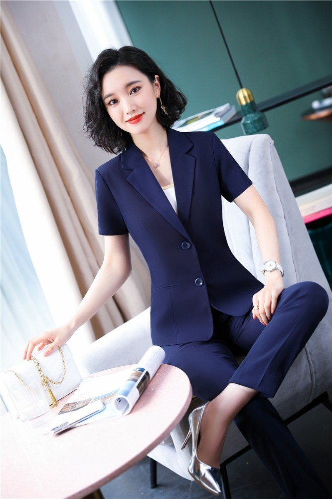 Novelty Navy Blue OL Styles Formal Business Suits For Women With Pants And Tops Summer Ladies Pantsuits Blazers Trousers Sets