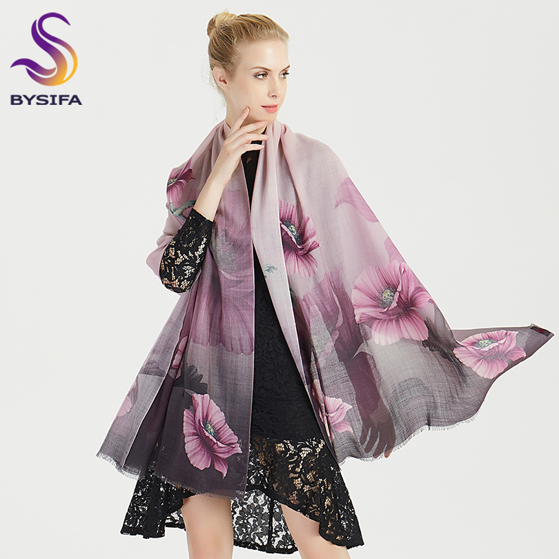 [BYSIFA] Winter Purple Grey Women Wool Cashmere Scarves Shawls 2018 New Floral Pattern Luxury 100% Pure Wool Long Scarf 190*75cm