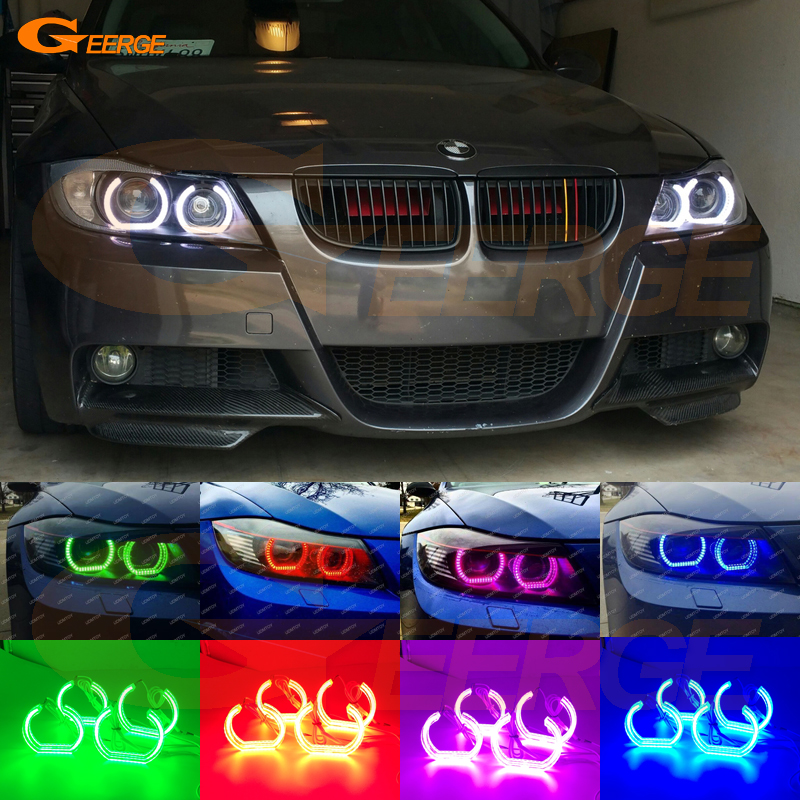 For BMW 3 SERIES E90 E91 SEDAN WAGON 2006-2011 Xenon headlight Excellent DTM Style Multi-Color RGB LED Angel Eye kit 4x xenon rgb remote multi color led angel eyes kit for bmw e90 2006 2008 e60