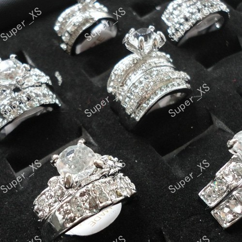 12Pcs 6 Pairs 2017 Hot Sale Cubic Zircon Rhinestones Women Silver Plated Ring For Women Fashion Jewelry Bulks 2 in 1 Rings LB154