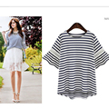 Kesebi 2017 New Hot Spring Summer Women Europen Plus Size Lace Stitching Striped Hollow T-shirts Female Casual Short Sleeve Tops