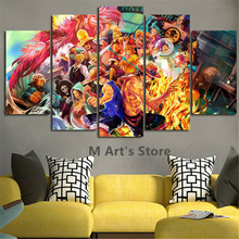5Piece Wall Anime Posters Printed One Piece Canvas Painting Art Picture For Living Room Home Decor Wall Hanging On The Wall
