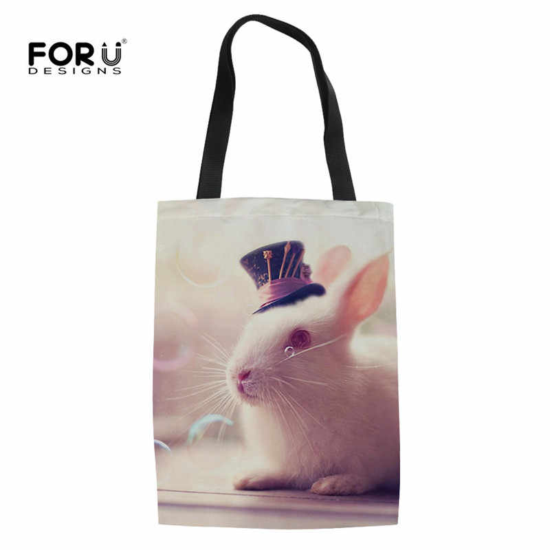 FORUDESIGNS/многоразовая сумка для покупок для девочек, милый кролик, хомяк, летние пяжные плечевые сумки для женщин, Экологичная школьная Сумочка для отдыха