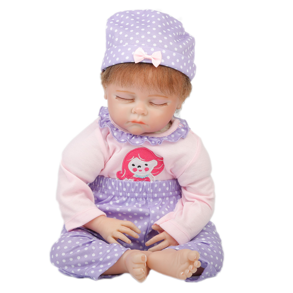 SanyDoll 22 inch 55cm baby reborn Silicone dolls, Lovely suit sleeping doll holiday gifts sanydoll reborn baby dolls cute suit clothes gift baby growth partners magnet pacifier 22 55cm