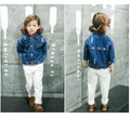 2017 Fashion Children Spring Denim Jacket Girls Chaqueta Denim Coat With Floral Baby Outwear Boys Cartoon Clothes Kids Pocket
