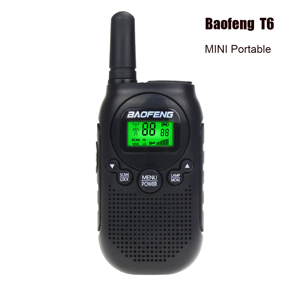 Baofeng BF T6 Kids Walkie Talkie Mini Portable Two Way Radio 0.5W FRS PMR Handheld Interphone Ham Radio Transceiver Comunicador