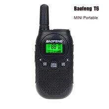 Baofeng BF T6 키즈 워키 토키 미니 휴대용 양방향 라디오 0.5 w frs pmr 핸드 헬드 인터폰 햄 라디오 트랜시버 comunicador