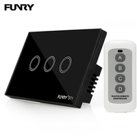 Funry ST1 US Standard Smart Home Switch Crystal Glass Panel Surface Waterproof Luxury Panel Remote Control